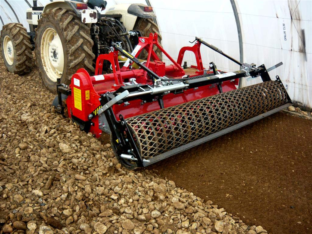 Stone buriers with rear roller for horticulture